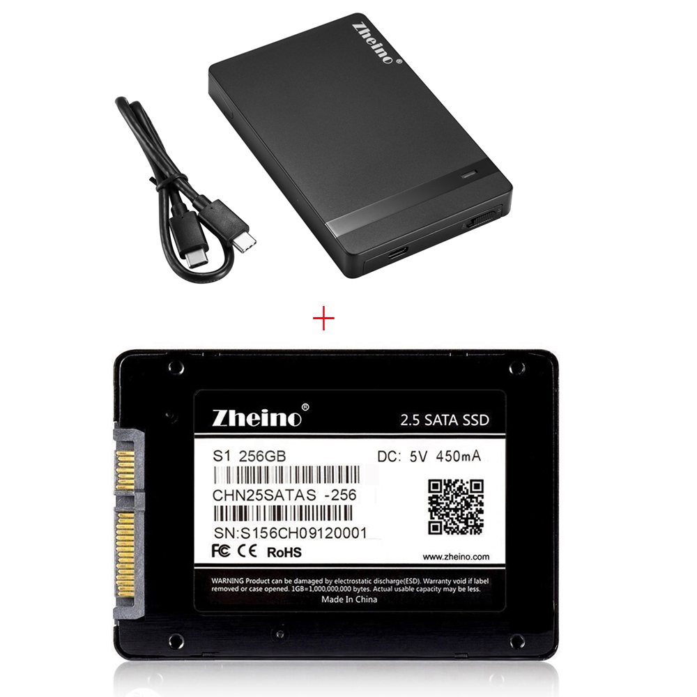 Фото Zheino Hot S1 2.5 SATA 256GB SSD interna Solid Disk Drives with USB Type C-C External Hard Drive Enclosure HDD SSD Case