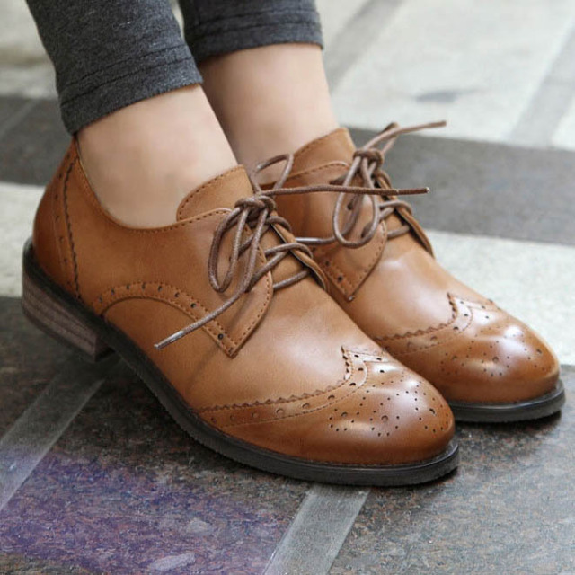 New 2015 Vintage Pu Leather Oxford Shoes For Women Fashion