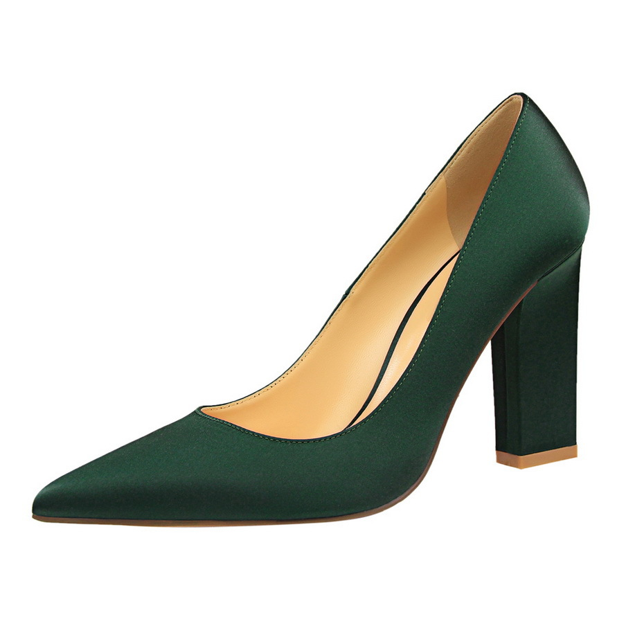 BIGTREE Spring Autumn fashion Simple women pumps Rough with Shallow mouth Pointed Sexy Nightclub Silk 9.5 CM  high heels shoes 14cm sexy fine with nightclub shiny diamond high heels spring and autumn shallow mouth princess wedding shoes