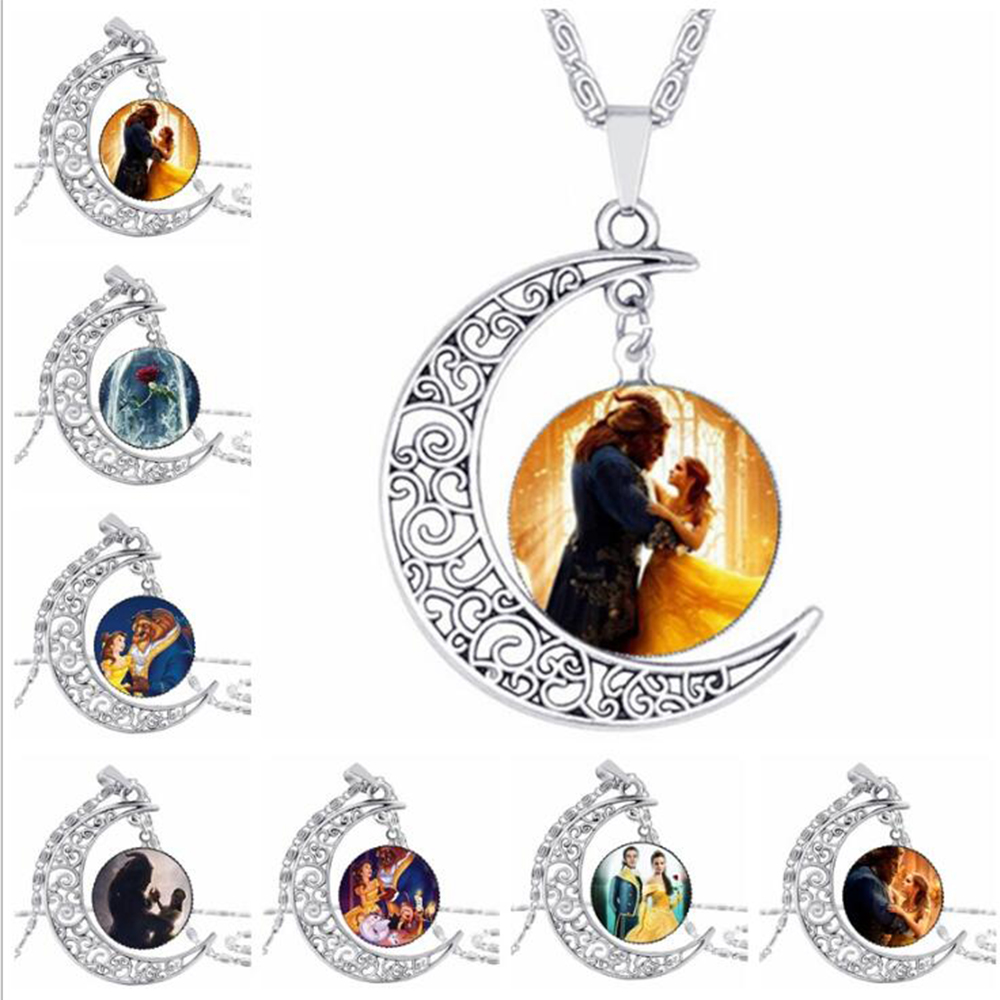 New 2017 Beauty and the Beast movie Princess Belle Rose Pendant necklace chain glass cosplay accessary