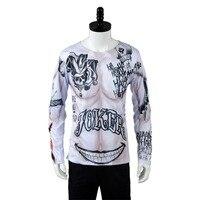 Batman Selbstmord Squad Joker Tattoo Symbol T-shirt T COSplay Kostüm Top Nur Halloween Karneval Erwachsene Männer