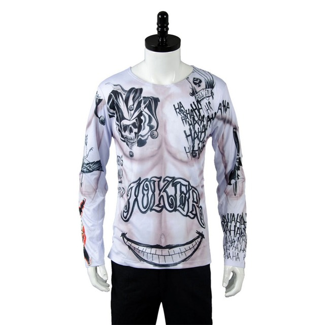 Batman Suicide Squad Joker Tattoo Symbol T Shirt Tee Cosplay Costume