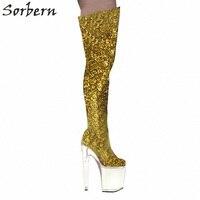 Sorbern Ds Туфли для сцены на высоком каблуке Для женщин модная обувь на платформе 20 см ботинки с блестками ночной клуб бар Dj женский этап сапоги