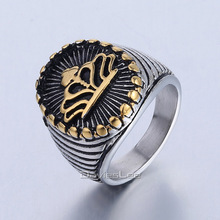 Davieslee Silver Gold Color Carved Crown 316L Stainless Steel Mens Boys Signet Ring Wholesale Jewelry DLHR431-432