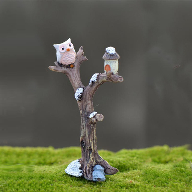 2pcs/lot Cute Owl Tree Miniature Garden Decoration Vintage Cartoon Animals Figurines Fairy Modern Home Decorations Accessories 2