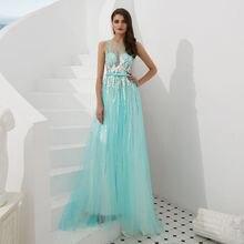 Sex illusion appliques evening gown pink prom dress Dubai A-line graduation Formal Long Evening Dress  robe de soriee