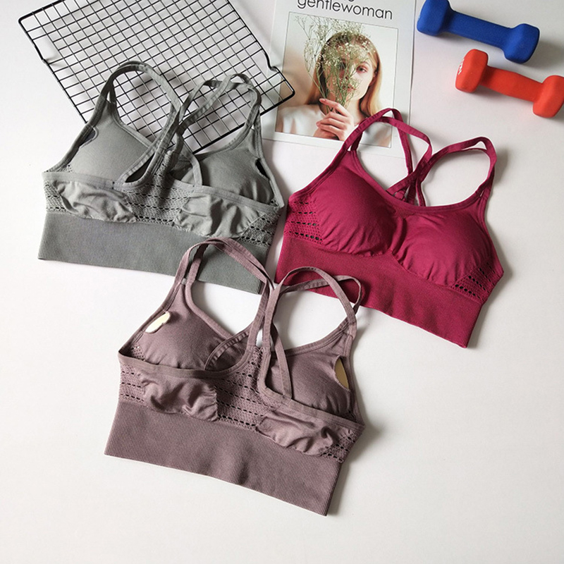 Energy Seamless Sports Bra Running Back Cross Strappy Yoga Bra With Removable Pads Brassiere Sport Woman Fitness Top Activewear