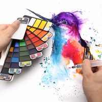 Прямая поставка; превосходное 18/25/33/42 цвета Твердые акварельные краски в наборе с кисточек для рисования количество ручка Портативный цвета...