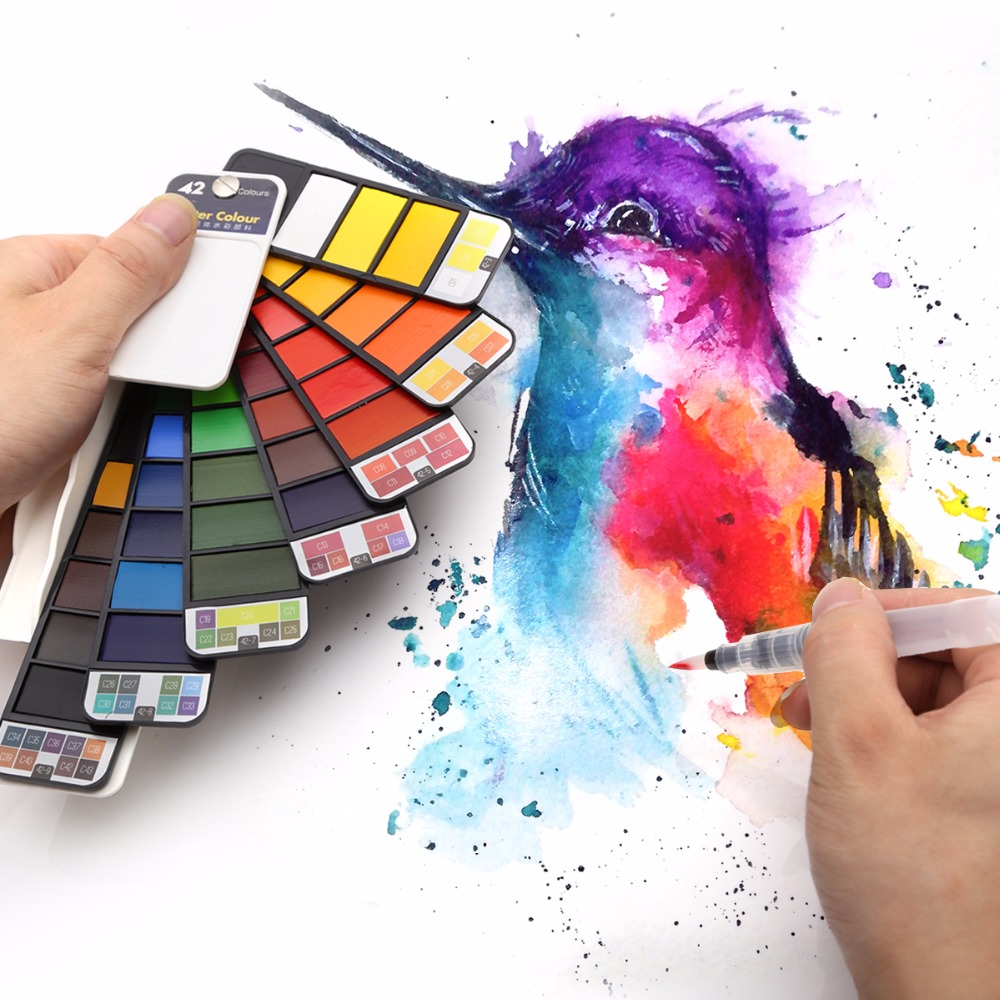 Dropshipping Überlegene 18/25/33/42 farben Solide Aquarell Malen Set Mit Wasser Pinsel Stift Tragbare Wasser farbe Pigment Für Zeichnung