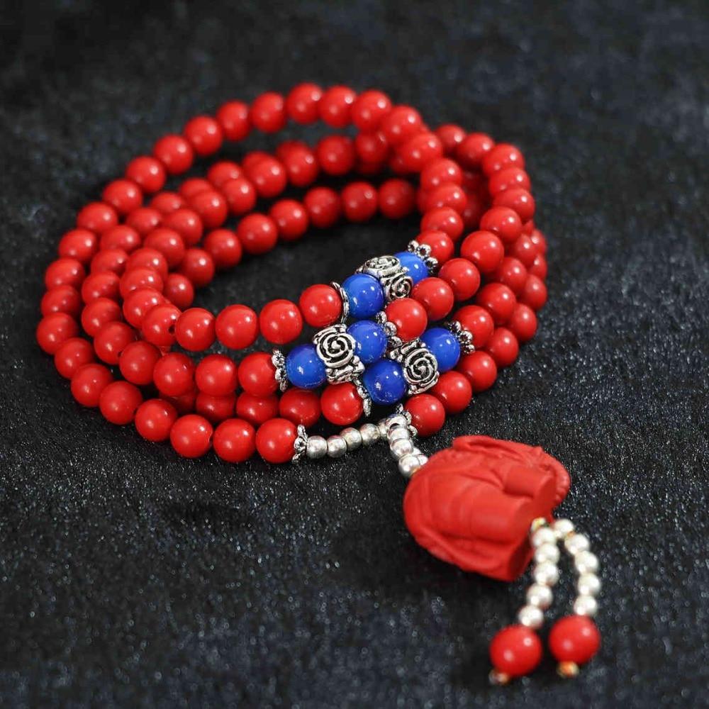 Daha satırlar yeni sentetik kırmızı cinnabar 6mm 108 boncuk fil - Kostüm mücevherat - Fotoğraf 4