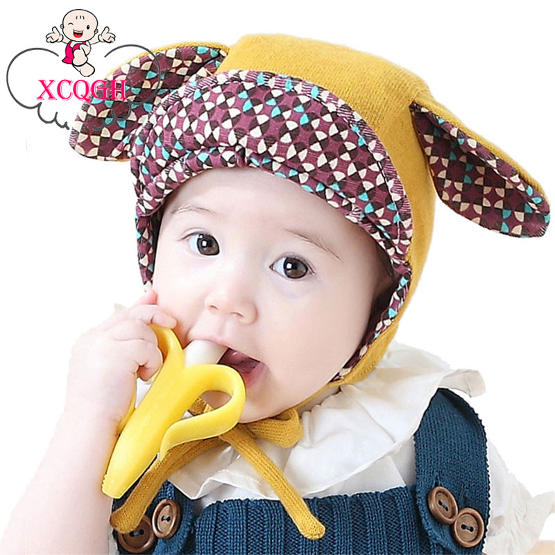 XCQGH Lovely Newborn Infant Cotton Hats Cartoon Ear Baby Warm Kids Girl Boy Beanie Peaked Cap Winter Ear Protection Hat