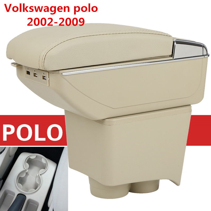 Storage Box Center Console Leather Cup Holder Dual Layer Armrest Arm Rest For Volkswagen VW Polo 9N 02-2009 2005 2006 2007 2008 for volkswagen vw polo 9n 2002 2009 armrest box central store content storage box center console leather cup holder dual layer