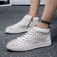 Autumn New Men S Leather Rivets High Help Tide Shoes Personality Casual Board Shoes First Layer