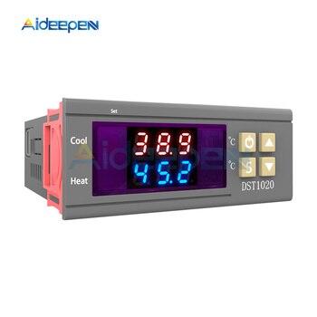 DST1020 DC 12V-72V AC 110-230V Dual Display Digital Thermostat Temperature Humidity Controller DS18B20 Sensor Waterproof Probe