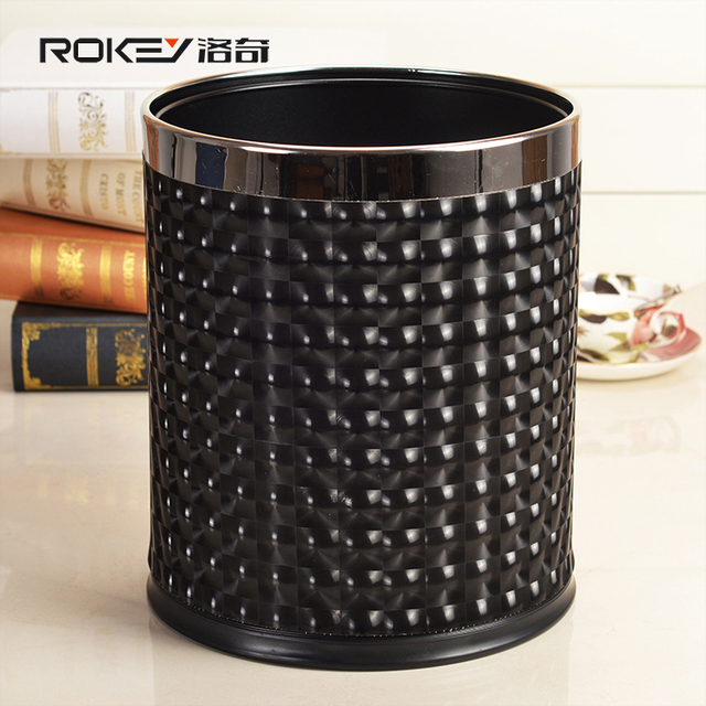 Delicieux Modern Lighting Grain Double Layer Round Leather Trash Can Home Office  Waste Basket Stainless Steel Metal