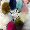 Raccoon Fur Pompon Keychain With Button  Soft Mul fake Fox Fur Ball Pompoms Pompom Hanging Car Bag Hat Glove Key Holder