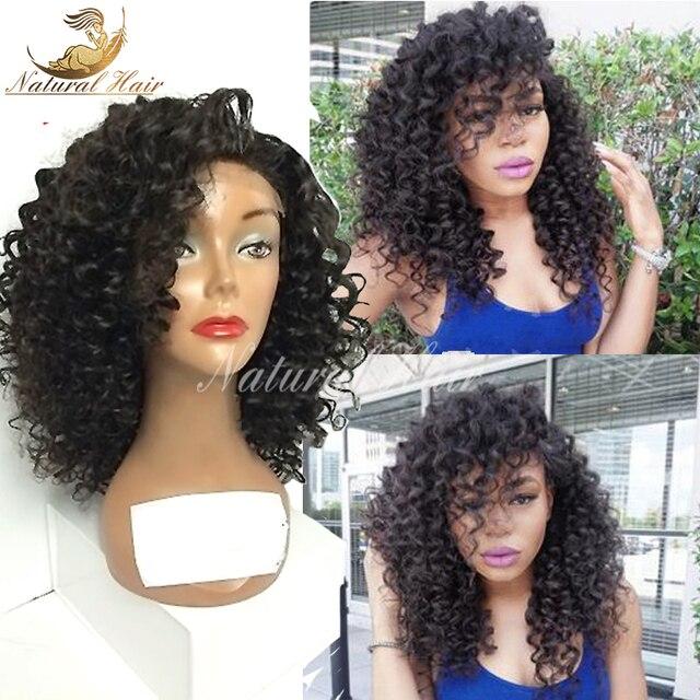 Перуанский Богородицы Afro Kinky Парик Короткие Вьющиеся Волосы Высокой Плотности 100% человеческих Волос Полный Шнурок Glueless Странный Фигурные Парики Для Чернокожих Женщин