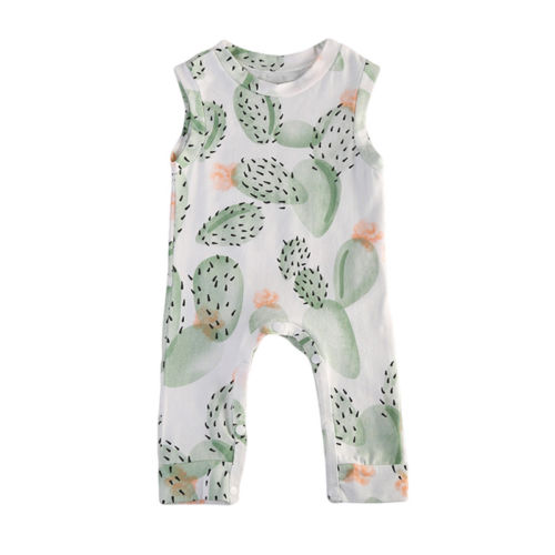 Toddler Baby Boy Girl Kids Clothes Cotton Floral Sleeveless Cactus Romper Jumpsuit Clothes Outfit 2pcs children outfit clothes kids baby girl off shoulder cotton ruffled sleeve tops striped t shirt blue denim jeans sunsuit set