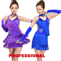 handsel accessories girl Tuxedo Latin dance costumes customize woman tassel sequined Rumba Samba tango dance competition dress