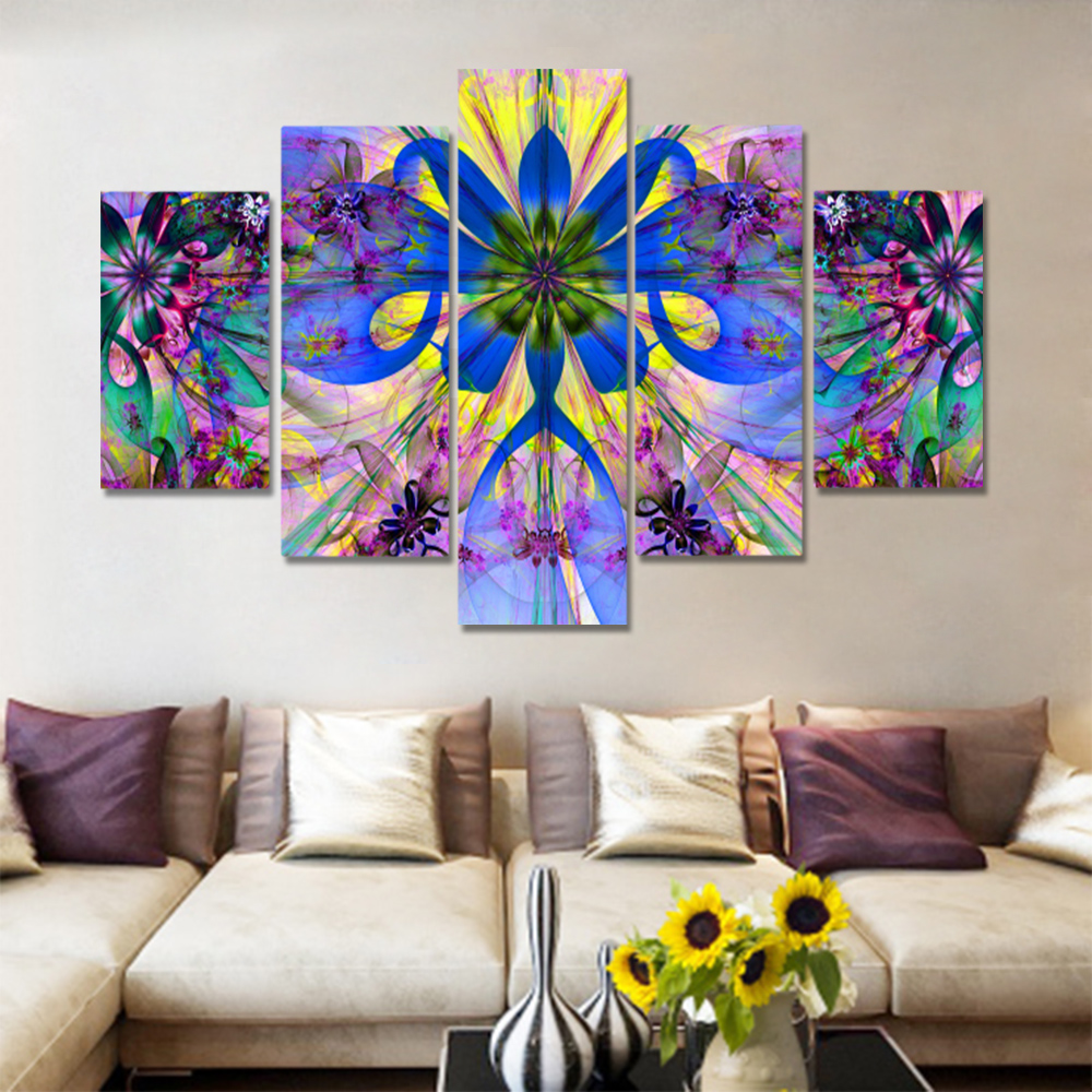 Unframed 5 HD Canvas Prints Abstract Flower Art Painting Living Room Decoration Mural Module Art Spray Painting Unframed