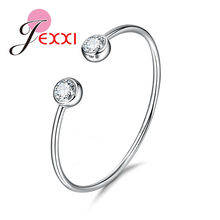 Marvelous Female 925 Sterling Silver Open Cuff Bangle Bright Pearl Shiny Cubic Ziron Jewelry For Travel Party(China)