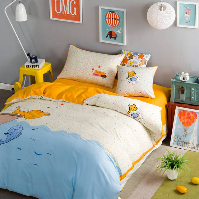 Blue Cartoon Cats Fish Applique Embroidered Bedding Set Twin Full Queen Size  Bedclothes Coverlets Cotton Woven