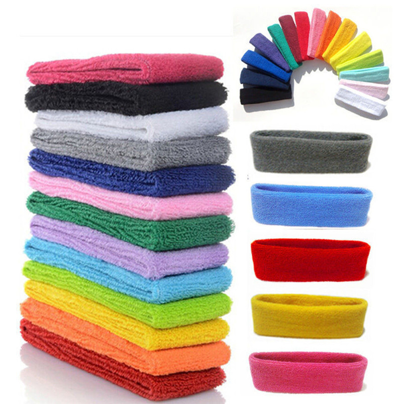 1pc high quality WomenMen Cotton Sweat Sweatband Headband Yoga Gym Stretch Head Band For Sport Sweatband #3n19 (17)