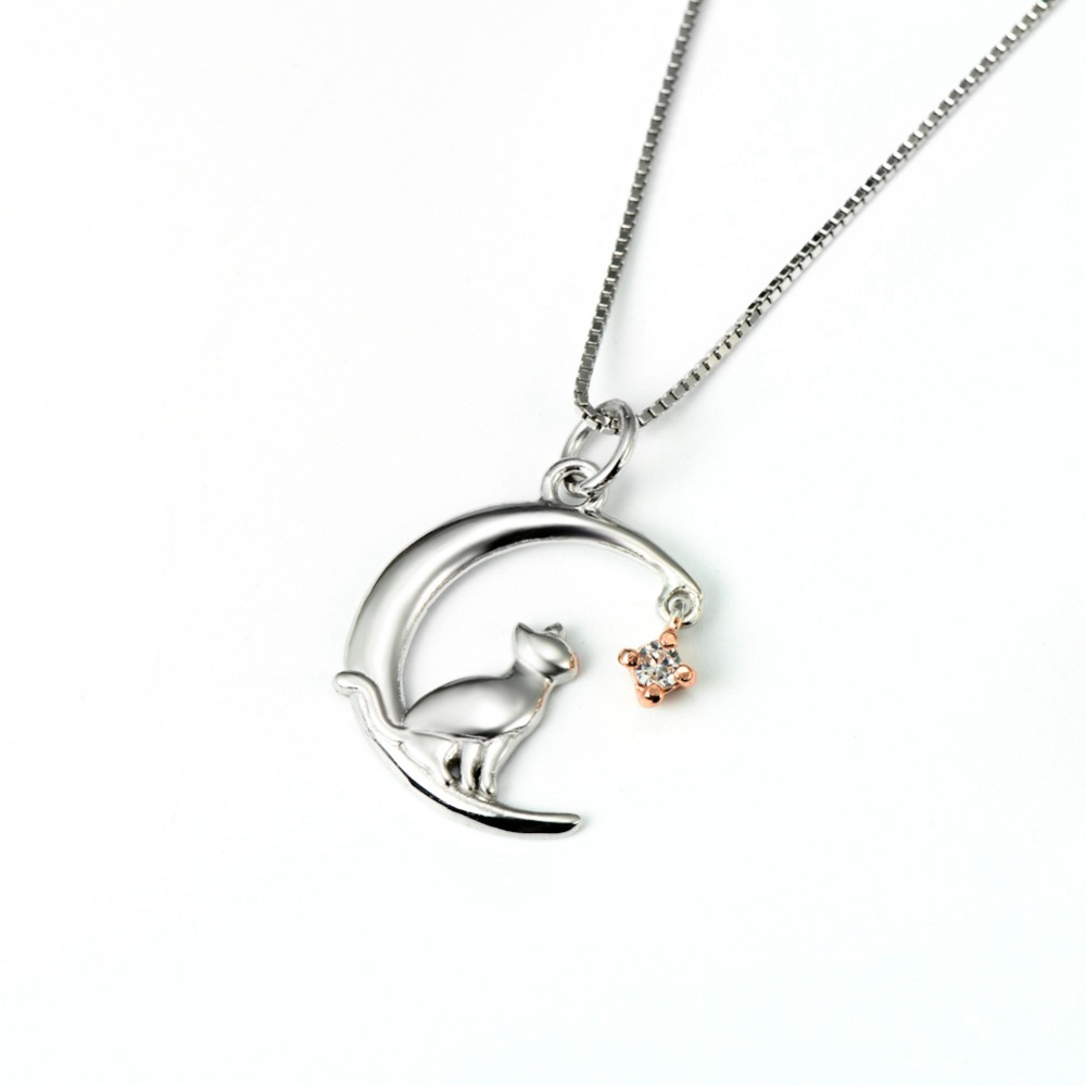charming lovely cat moon necklace
