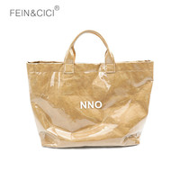 Kraft Paper Shopping Bag large big summer beach bag PVC Clear Double Transparent Bag Waterproof Causal Totes Bag khaki brown