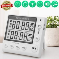 Cooking Timer Electronic Kitchen Timer Digital Countdown 2 Channel Timer Laboratory Fitness Kitchen Tools