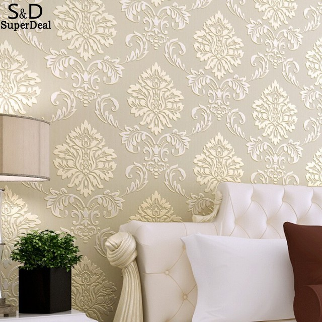 Non Woven Wallpaper Classic Wall Paper Roll Purple Grey Wallcovering Luxury Floral Papel