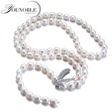 本物の淡水多層ロング真珠のネックレスの女性、結婚式天然真珠ネックレス女の子ジュエリー誕生日ギフト白