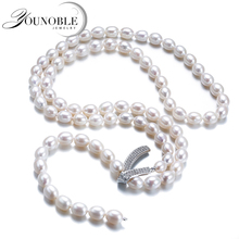 Genuine Freshwater Multilayer long pearl necklace woman,wedding natural pearl necklace girls jewelry white birthday gift white