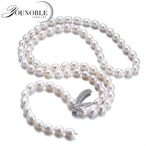 Image 1 - Genuino Dacqua Dolce A Più Strati lunga collana di perle donna, da sposa collana di perle naturali dei monili delle ragazze di bianco regalo di compleanno bianco