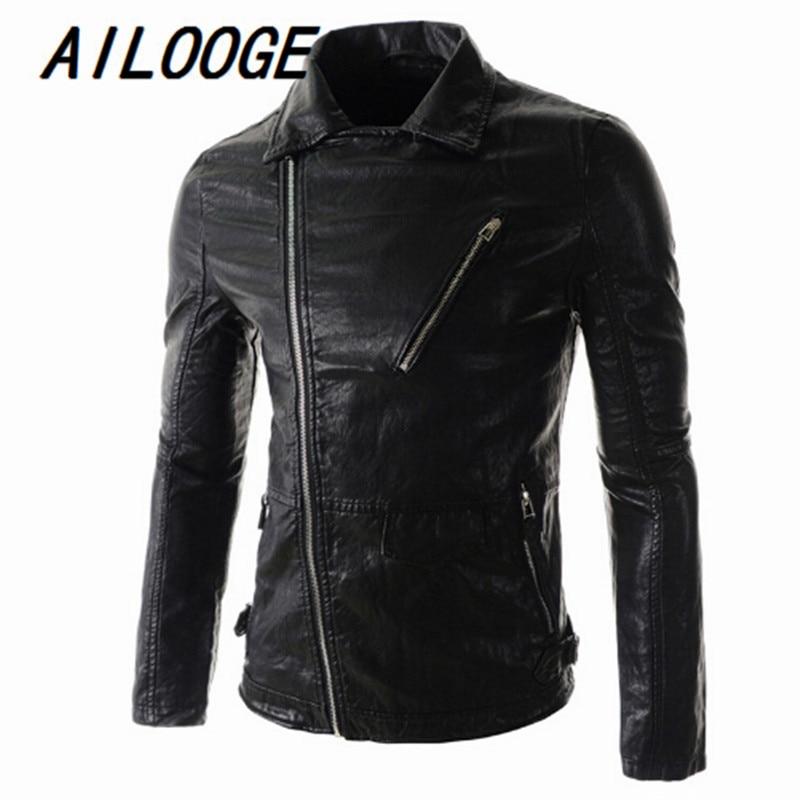 760d2d28a00 ᗕМотоцикл Стиль кожаная куртка Для мужчин 2016 высококачественный ...