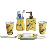 Американский ванная комната пять комплектов керамическим Творческий простота Свадебные оборудования пять комплектов зуб чашки для полоск