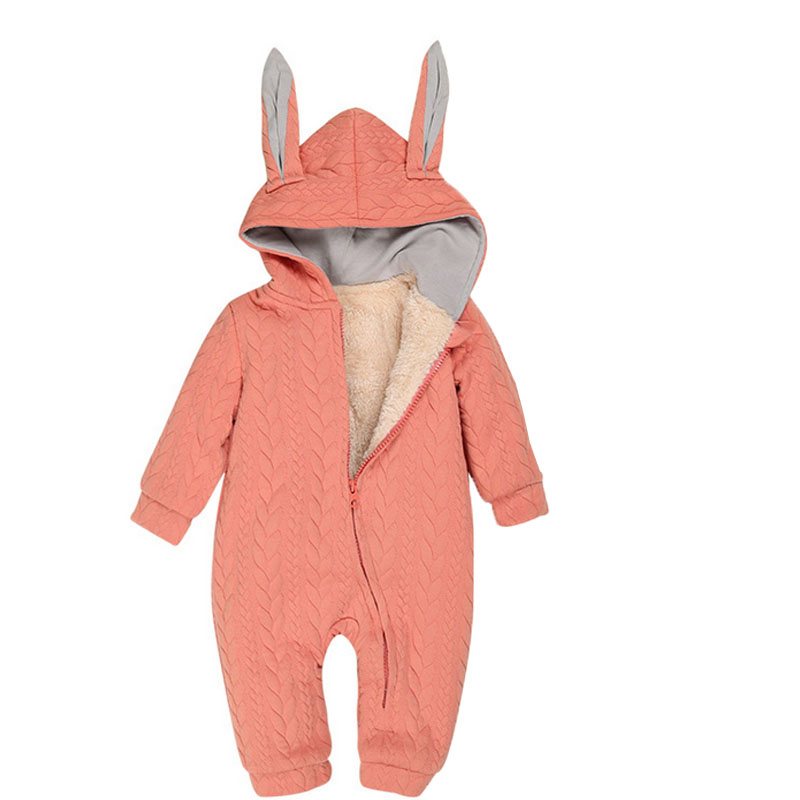 0-2Y Warm Winter Thicken Fleece Boy Girl Baby Romper New Lovely Rabbit Hooded Long Sleeve Parkas Christmas Jumpsuit Blue Orange