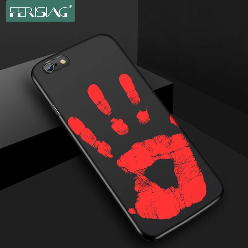 Ferising Custodia per iPhone 7/7 Plus Opaca PC Sensore Termico Cover Per iPhone 6 6 s Più Termica Ad Induzione di Calore posteriore Montato caso