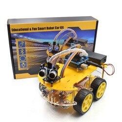 Kit de coche inteligente multifunción Bluetooth chasis compatible con seguimiento tablero R3 DIY RC robot de juguete electrónico