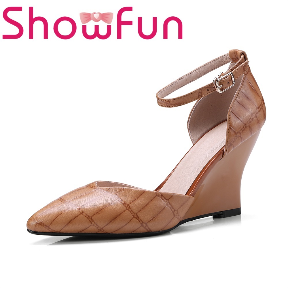 Showfun genuine leather shoes woman office&career mature ankle-wrap buckle strap checkered solid wedges sandals showfun 2018 genuine leather retro faux