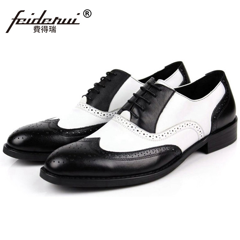 Fashion Wing Tip Man Carved Dress Shoes Genuine Leather Brogue Oxfords Male Luxury Brand Round Toe Formal Men's Flats IH32 ruimosi high quality wing tip man dress