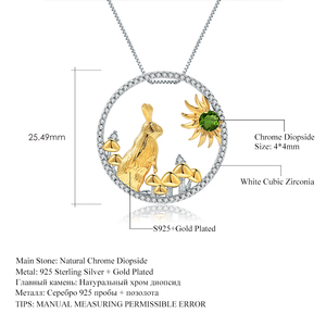 Image 5 - GEMS BALLET 925 Sterling Silver Handmade Rabbit Mushrooms Natural Chrome Diopside Pendant Necklace For Women Zodiac Jewelry