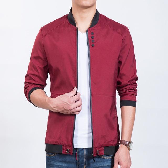 New 2016 Red Men's Jacket Baseball Collar Buttons Bomber Jacket Men Zipper Pockets Korean Slim Fit Causal Jackets Coat Male 5XL