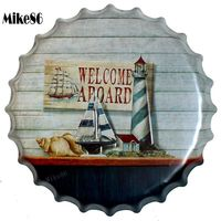 [ Mike86 ] WELCOME A BOARD Mediterranean Bottle Cap Wall Painting Retro Metal Tin sign Bar Home Party Plaque Decor 40 CM BG 32