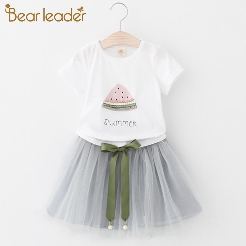Bear Leader Girls Clothing Sets 2017 New Summer Children dresses White Short T-Shirt +Short skirt 2Pcs Suit Brand Kids Clothes