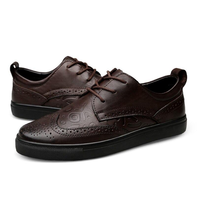 En Brogues Grandes Cuir 47 De Casual Hommes Black Chaussures Zapatillas Hombres Tailles Luxe Valstone brown Sneakers 2018 Gamme Véritable Haut Printemps Eqn0BB