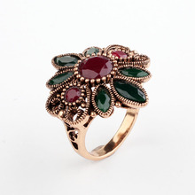 Real Austrian Crystals Bohemian Sun Flower Rose Gold Color Vintage Rings For women Top Sale New #RB04208