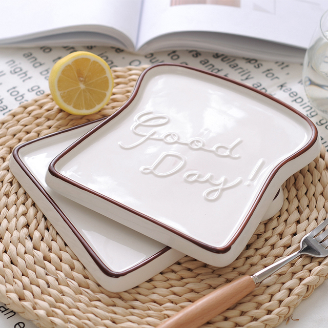Good Day Toast Shaped Porcelain Plate