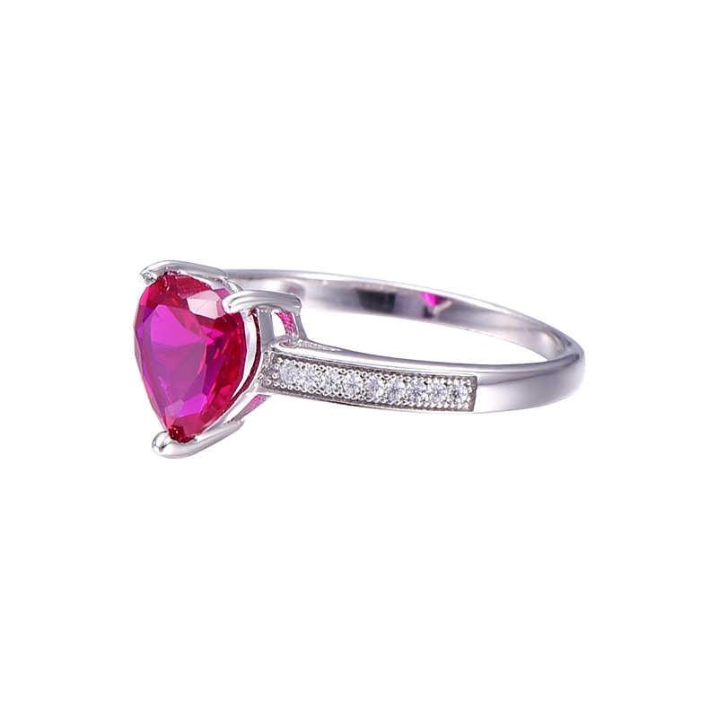 JQUEEN 3ctหัวใจสีแดงทับทิมจำลองสัญญาแต่งงานแหวนหมั้นแข็ง925เครื่องประดับเงินสเตอร์ลิงสำหรับคนรัก