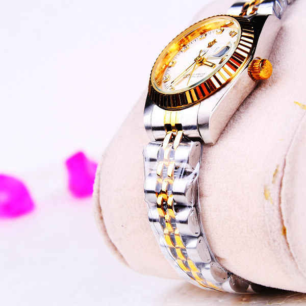 Hk Crown Brand Ladies Watches Female Luxury Gold Silver Steel Band Women Calendar Dress Business Wristwatches Reloj Mujer Clock